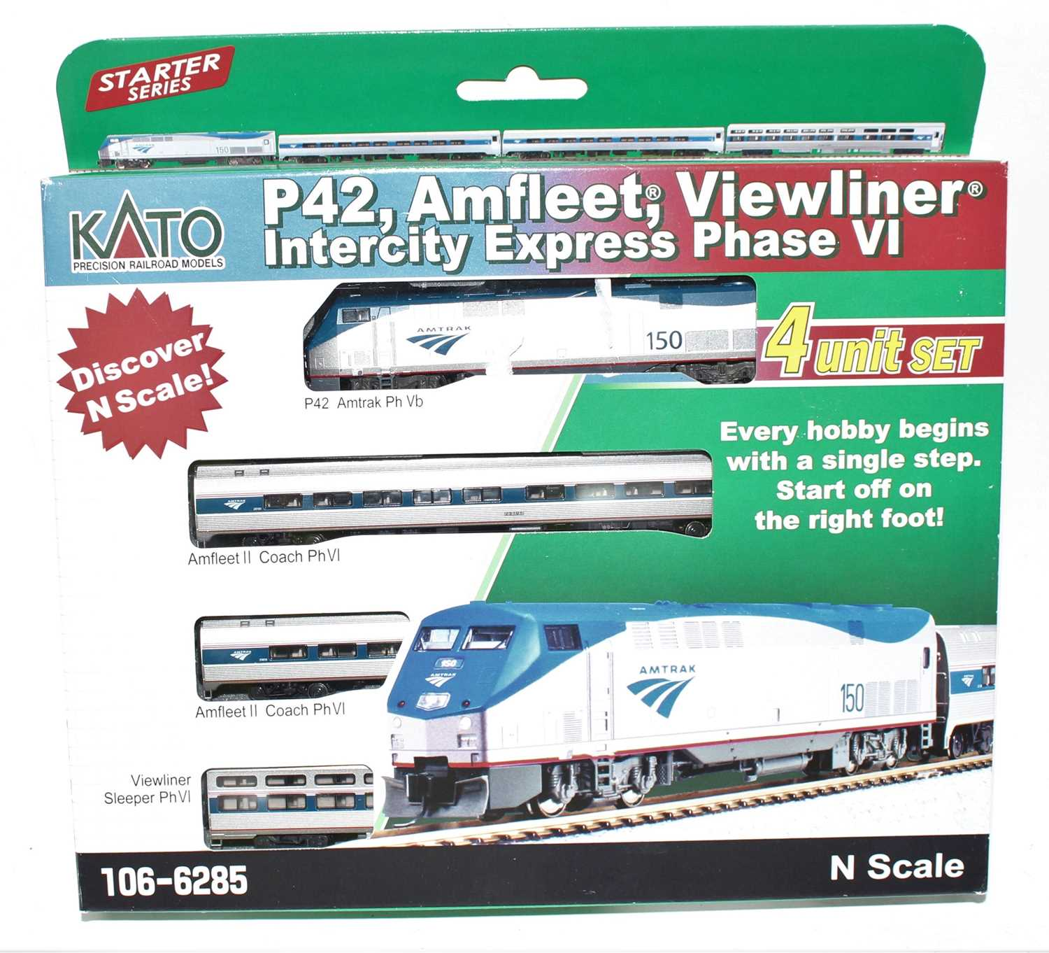 A Kato N gauge No. 106-6285 set comprising of P42 Amtrak loco with three coaches, housed in the