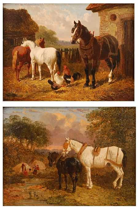 John Frederick Herring Jnr (1815-1907) - Pair: Farmyard scene with horses and chickens, and