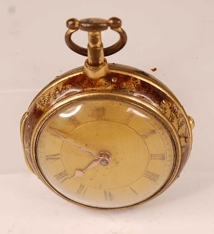 A George III gent's pair-cased open faced pocket watch, the outer case being faux tortoiseshell, the