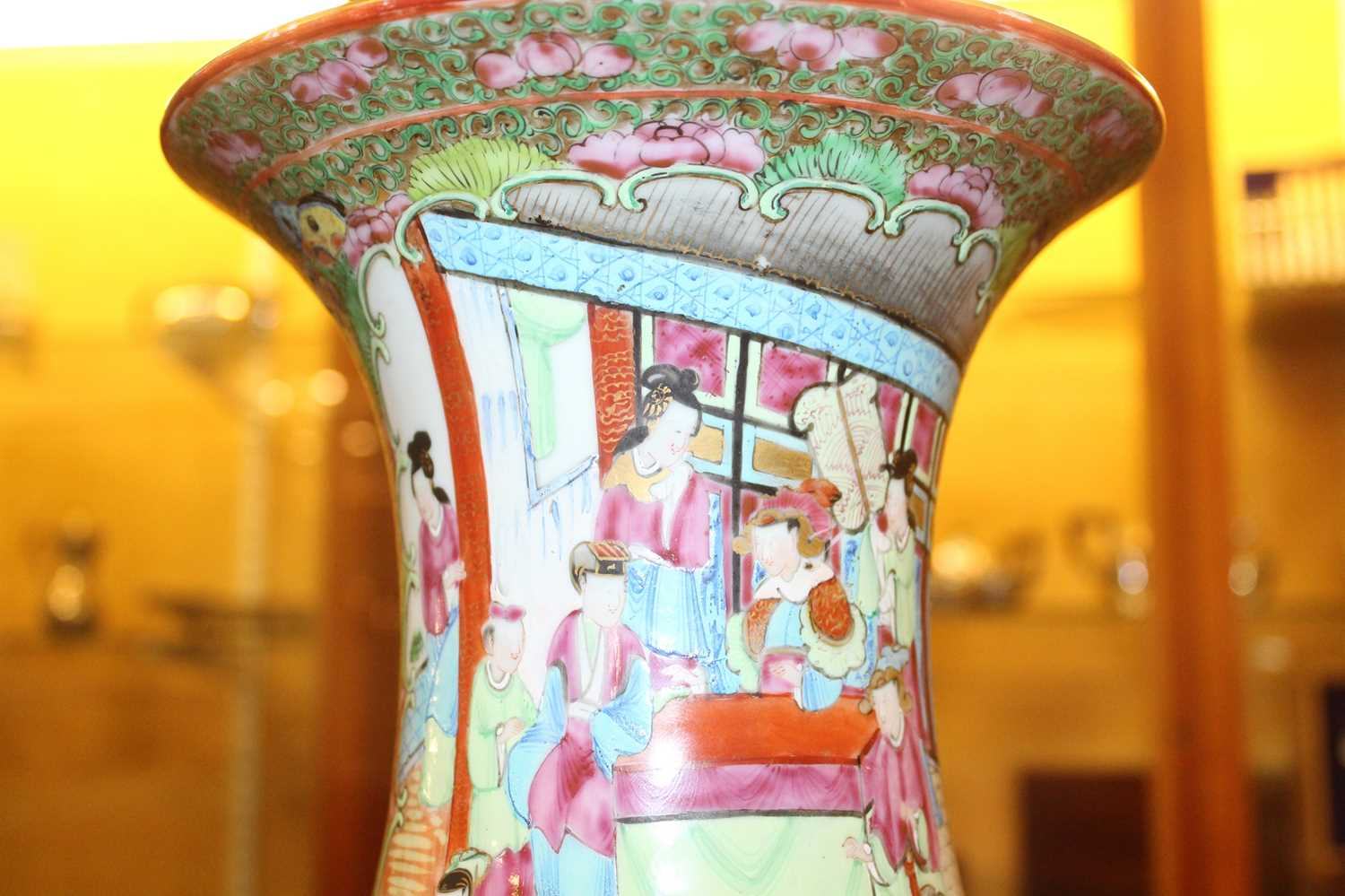 A 19th century Chinese Canton famille rose vase, enamel decorated with ceremonial figure scenes - Image 14 of 18