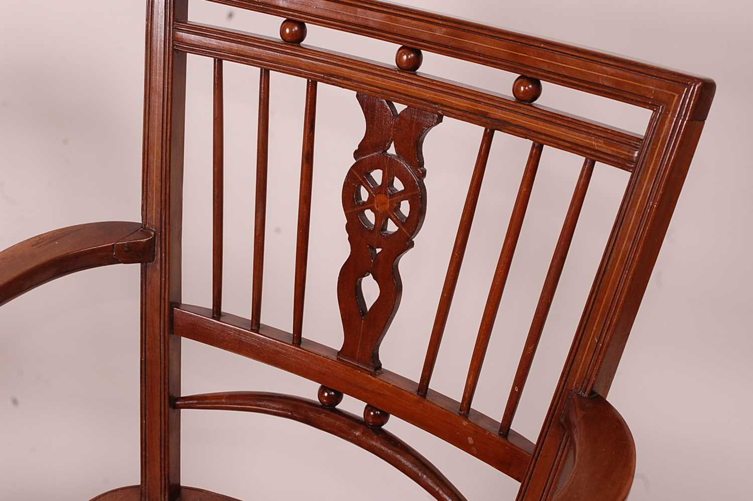 A near-pair of 19th century elm seat and fruitwood Mendlesham chairs, each having ball and pierced - Image 3 of 6