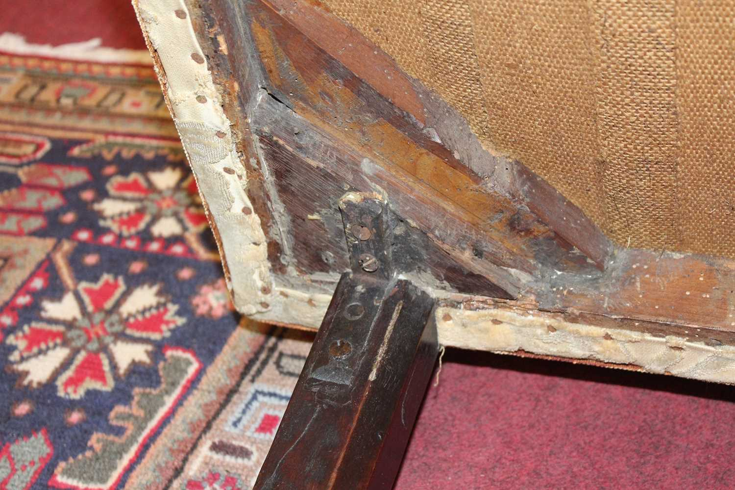 A George III mahogany framed window seat, of serpentine outline, having an upholstered top with - Image 15 of 18