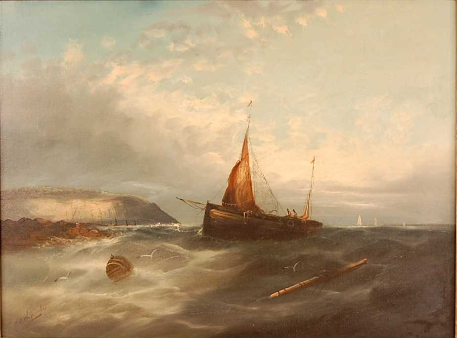 Late 19th century school - Fishing boats in trouble off the coastline, oil on canvas, indistinctly