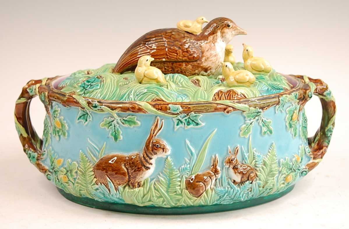 A Victorian George Jones majolica two-handled oval game pie tureen and cover, the cover decorated - Image 3 of 11