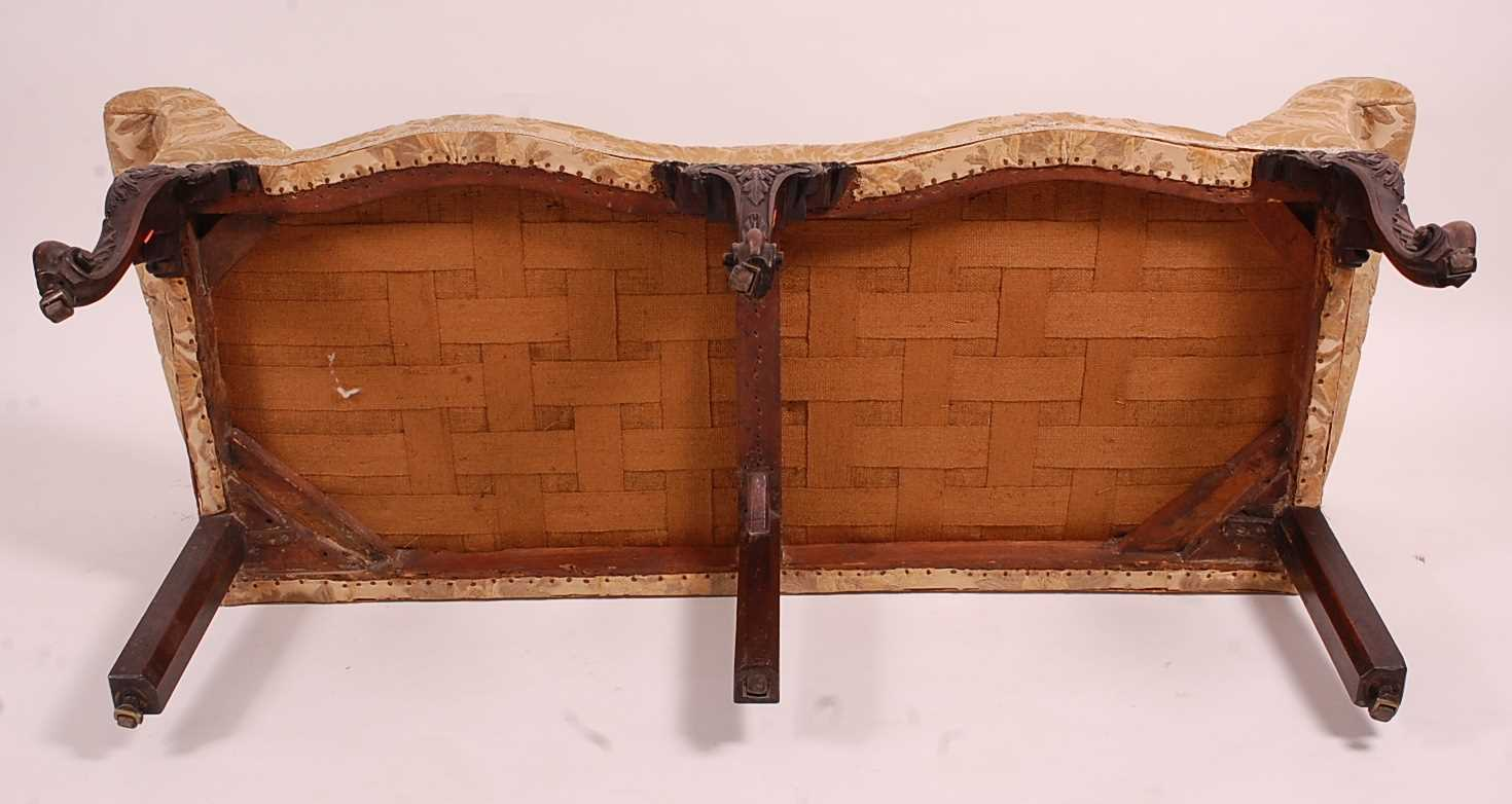 A George III mahogany framed window seat, of serpentine outline, having an upholstered top with - Image 5 of 18