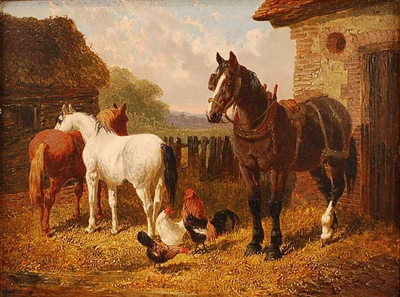 John Frederick Herring Jnr (1815-1907) - Pair: Farmyard scene with horses and chickens, and - Image 7 of 9