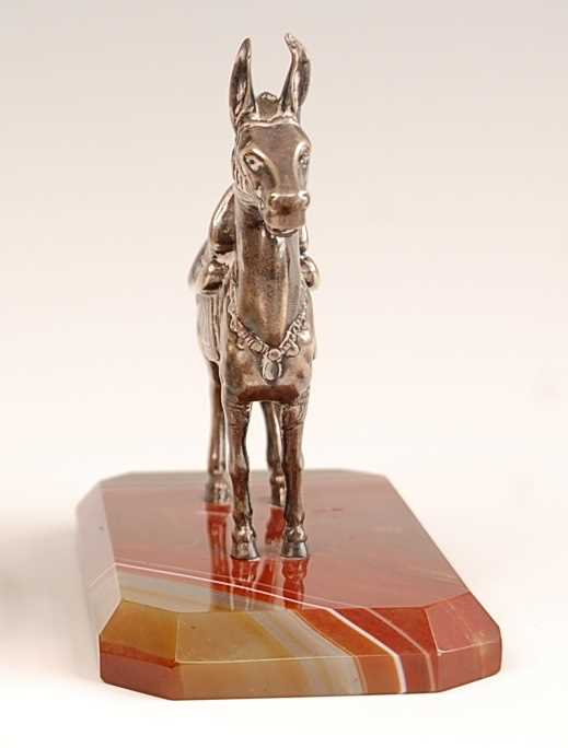 An early 20th century continental white metal model of a donkey, in standing pose and full livery, - Image 3 of 4
