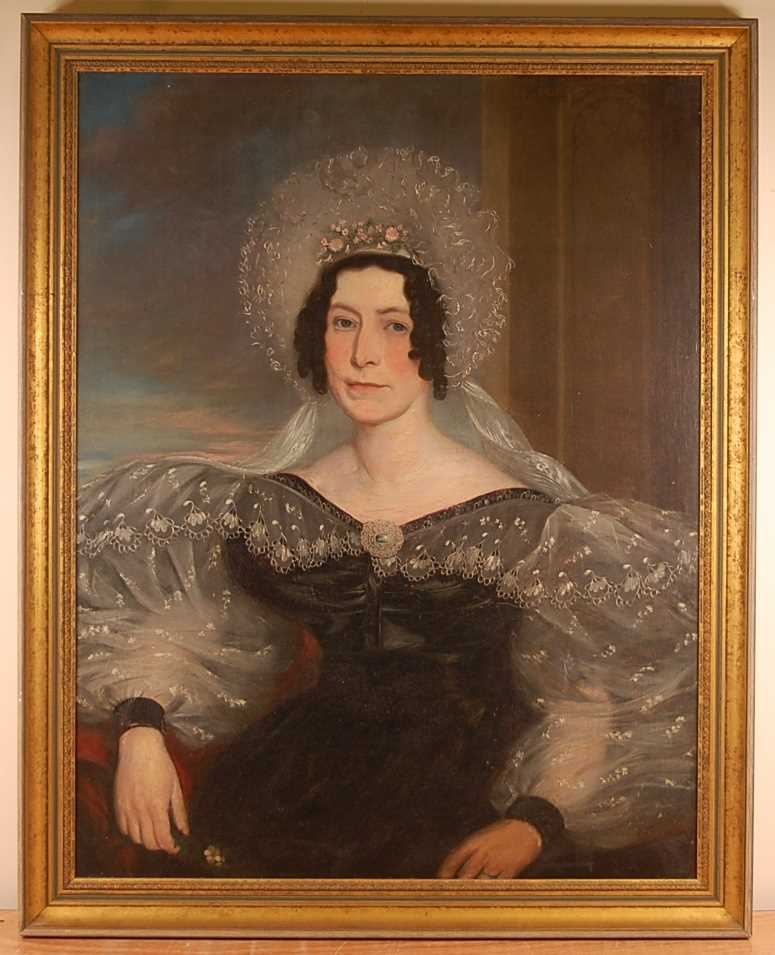 19th century English school - Pair; Half-length portraits of a lady and gentleman, each in seated - Image 2 of 9