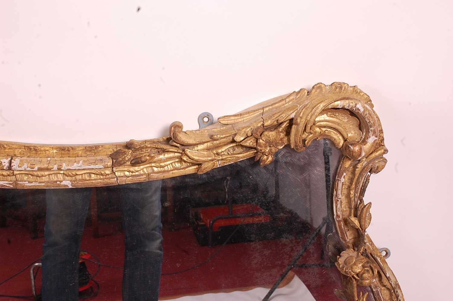 A Victorian Rococo Revival giltwood and gesso wall mirror, the shaped rectangular plate in an - Image 7 of 13