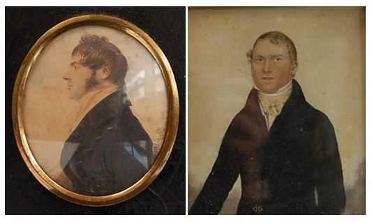 Early 19th century English school - Half-length portrait of a gentleman wearing a black tunic,