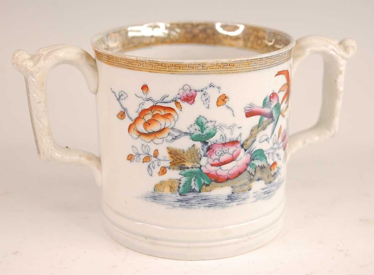 A Victorian Till & Sons ironstone loving 'frog' cup, decorated in the Chinese palette and heightened