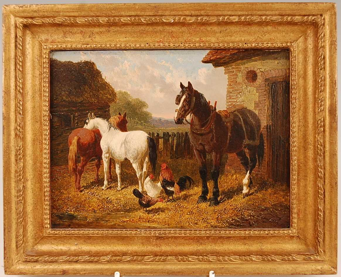 John Frederick Herring Jnr (1815-1907) - Pair: Farmyard scene with horses and chickens, and - Image 6 of 9