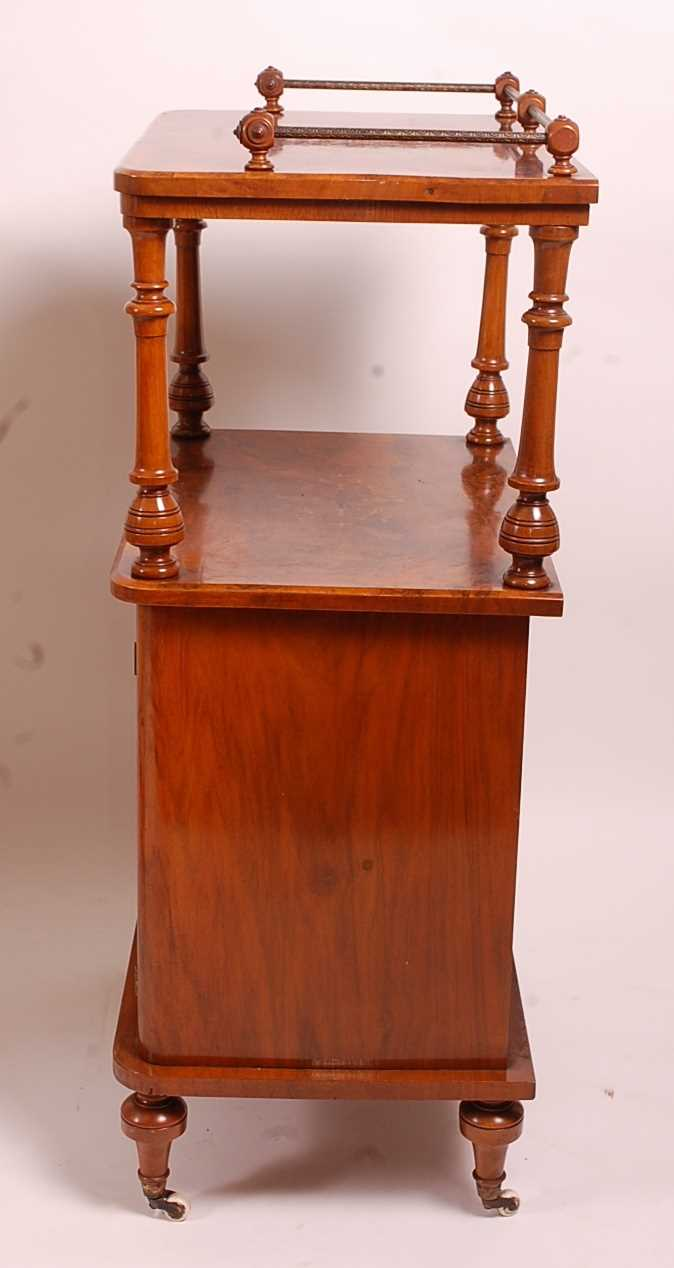 A Victorian figured walnut and marquetry inlaid music cabinet, having brass three-quarter gallery - Image 2 of 4