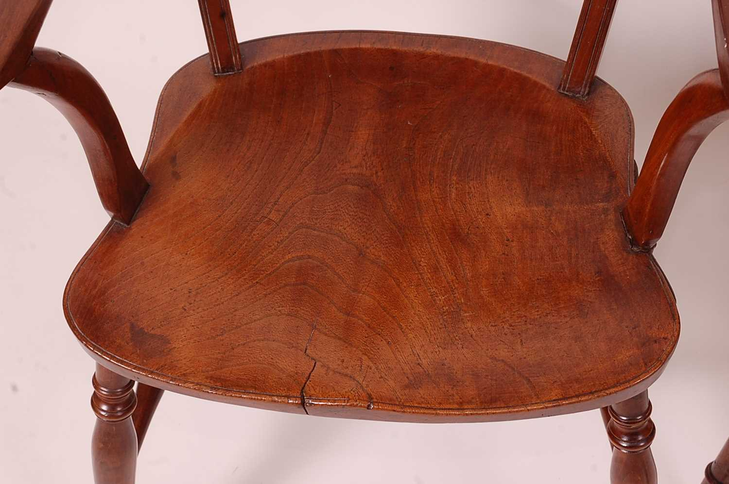 A near-pair of 19th century elm seat and fruitwood Mendlesham chairs, each having ball and pierced - Image 5 of 6