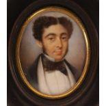 19th century English school - Bust portrait of a gentleman wearing a bow-tie, miniature