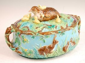 A Victorian George Jones majolica two-handled oval game pie tureen and cover, the cover decorated