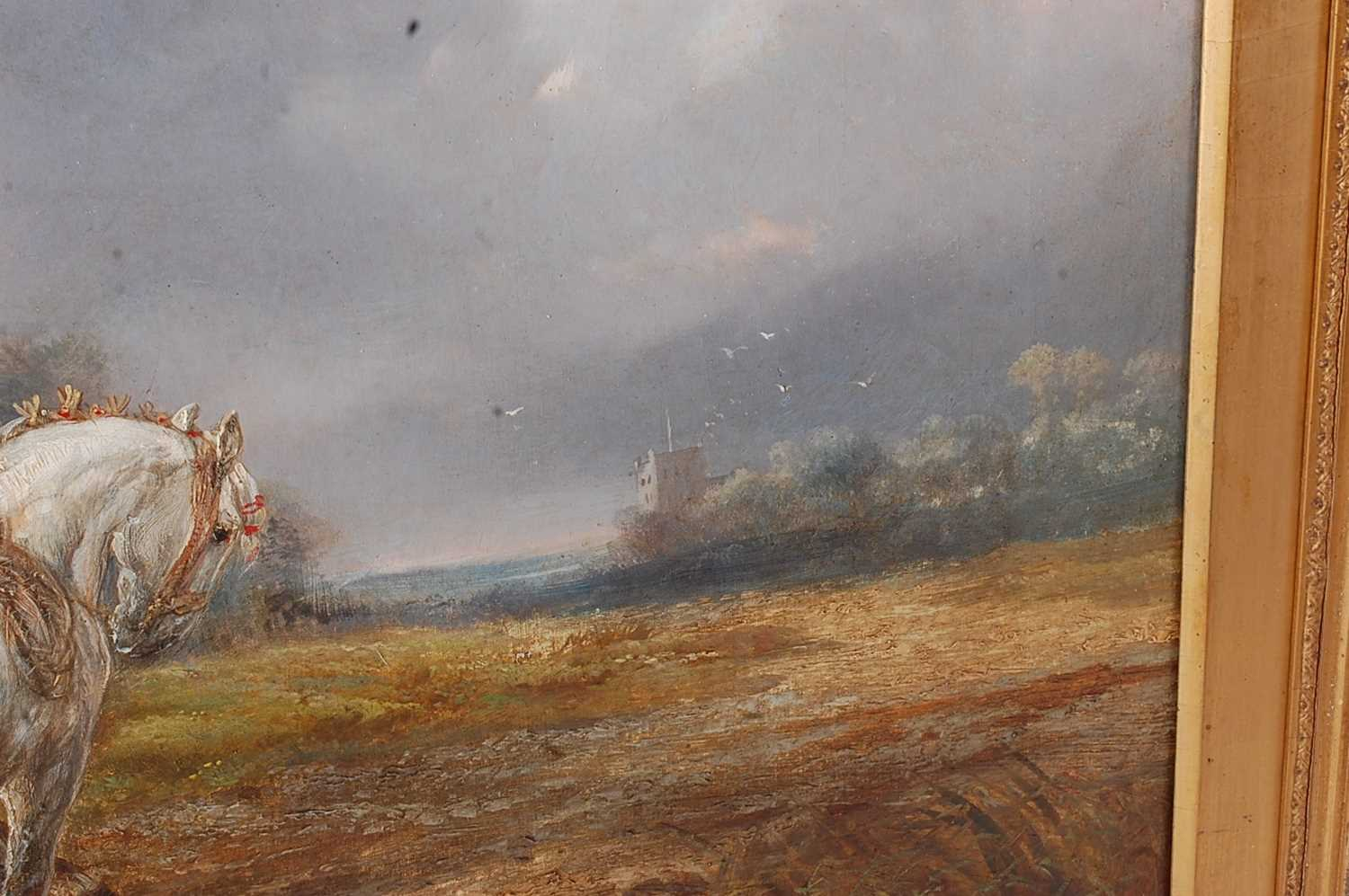 Alexis de Leeuw (Belgian c1822-1900) - Travellers with a string of horses in a landscape, oil on - Image 4 of 7