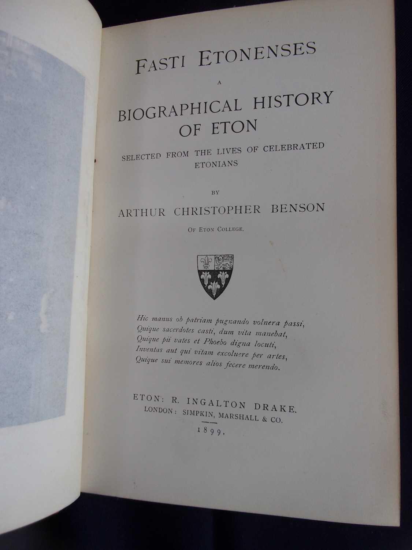 BENSON, Arthur Christopher. Fasti Etonenses, a Biographical History of Eton. Simpkin Marshall & - Image 3 of 3