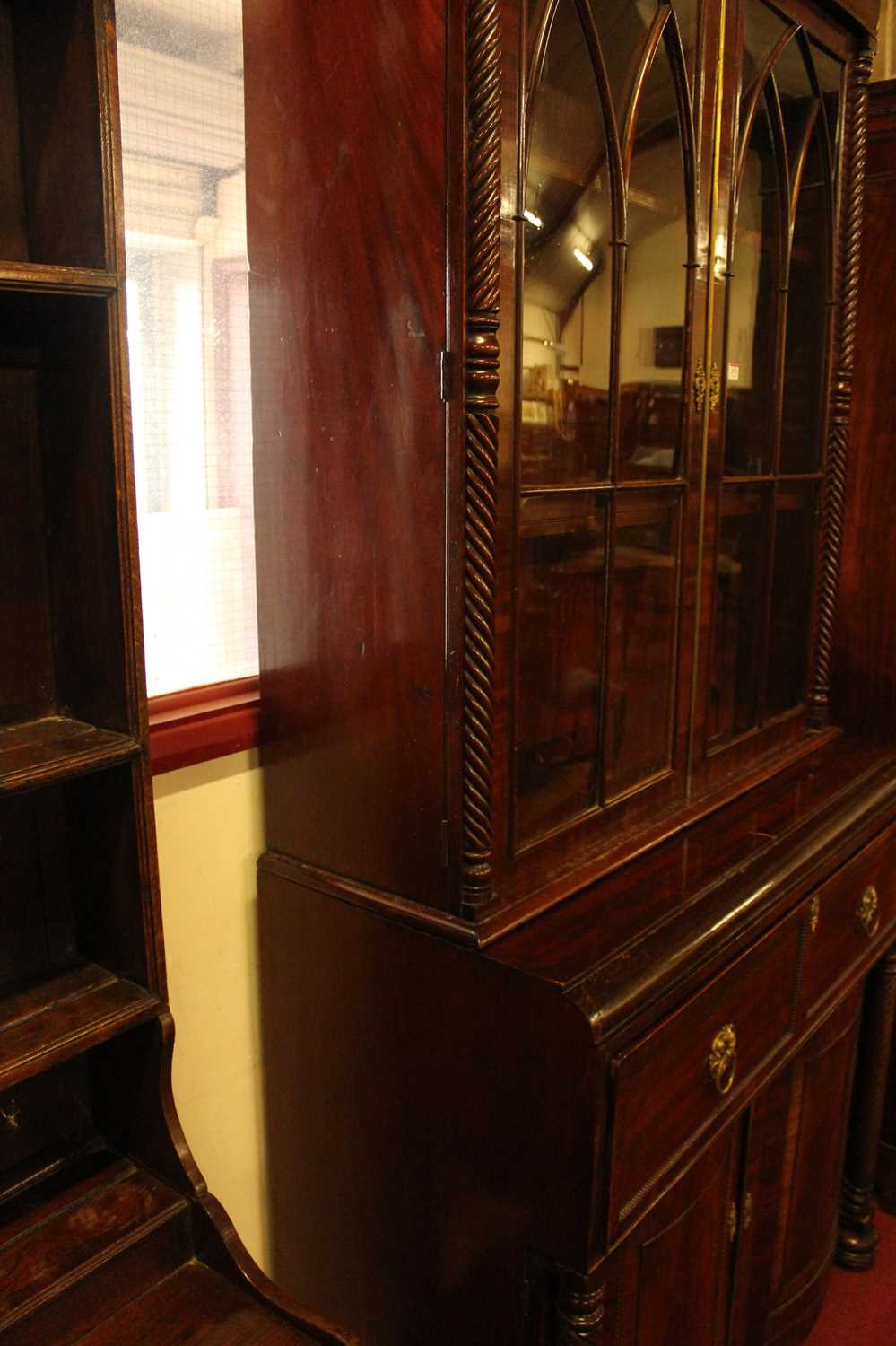 A Regency mahogany secretaire bookcase, having twin gothic arched glazed doors with enclosed - Image 8 of 12