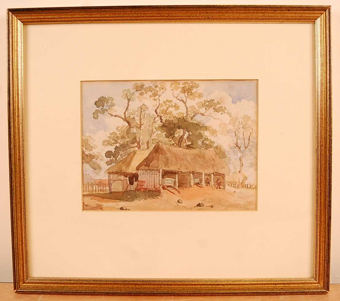Thomas Churchyard (1798-1865) - Barn at Bredfield, watercolour, 14 x 19cm Provenance; From the - Image 2 of 3