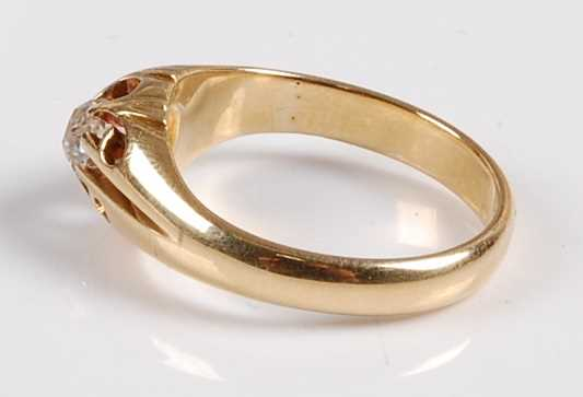 A yellow metal diamond single stone ring, featuring an Old European cut diamond in a scalloped - Image 2 of 5