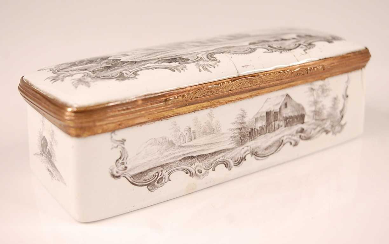 An 18th century enamel on gilt metal snuff box, probably German circa 1770, of rectangular form, - Image 3 of 6