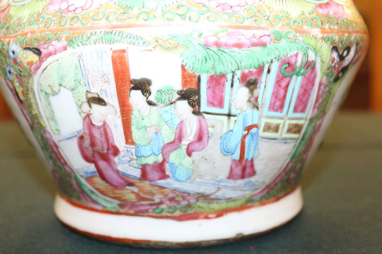 A 19th century Chinese Canton famille rose vase, enamel decorated with ceremonial figure scenes - Image 9 of 18