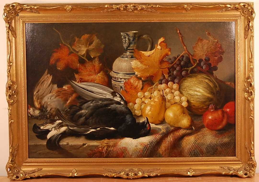 William Duffield (1816-1863) - Still life with dead game, fruit and a stoneware bellarmine, oil on - Image 2 of 5
