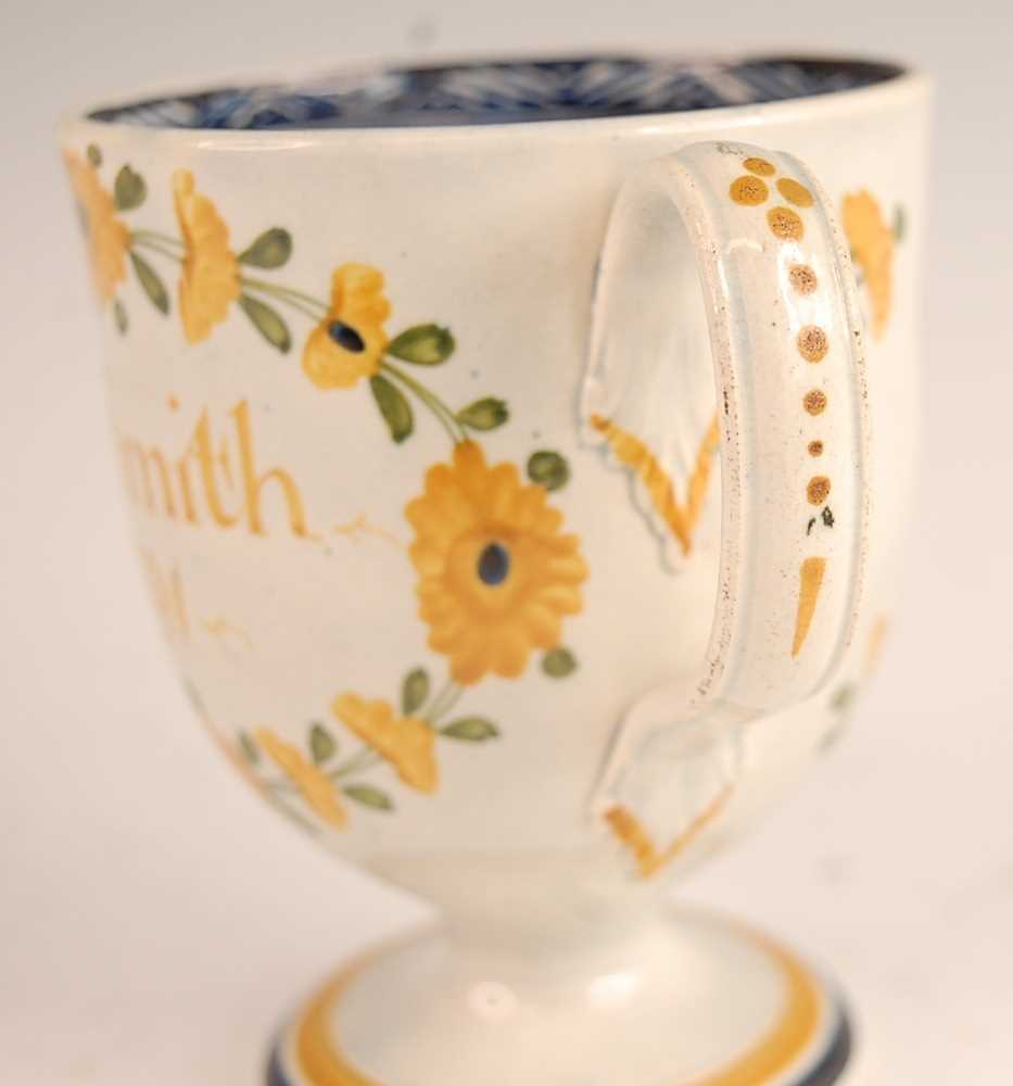 A George III pearlware pedestal loving cup, the bell shaped bowl inscribed William Smith and dated - Image 3 of 6