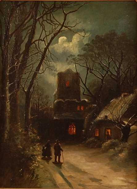 Thomas Smythe (1825-1906) - Figures in a moonlit winter landscape, oil on canvas, indistinctly