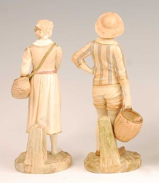 A pair of Royal Worcester blush ground figures modelled as the French Fisherman and his Companion, - Image 2 of 4