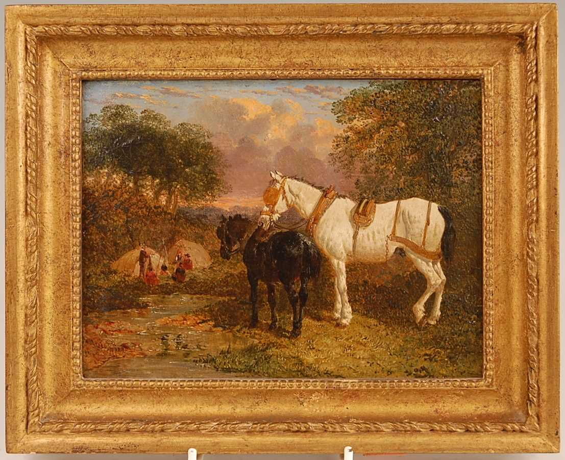 John Frederick Herring Jnr (1815-1907) - Pair: Farmyard scene with horses and chickens, and - Image 2 of 9