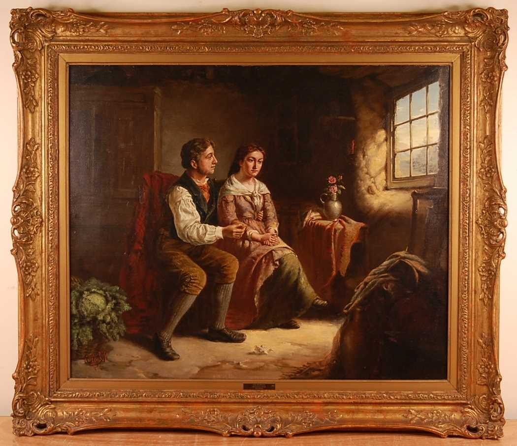 Erskine Nichol (1824-1904) - The Proposal, oil on canvas, signed with monogram and dated '88 lower - Image 2 of 5