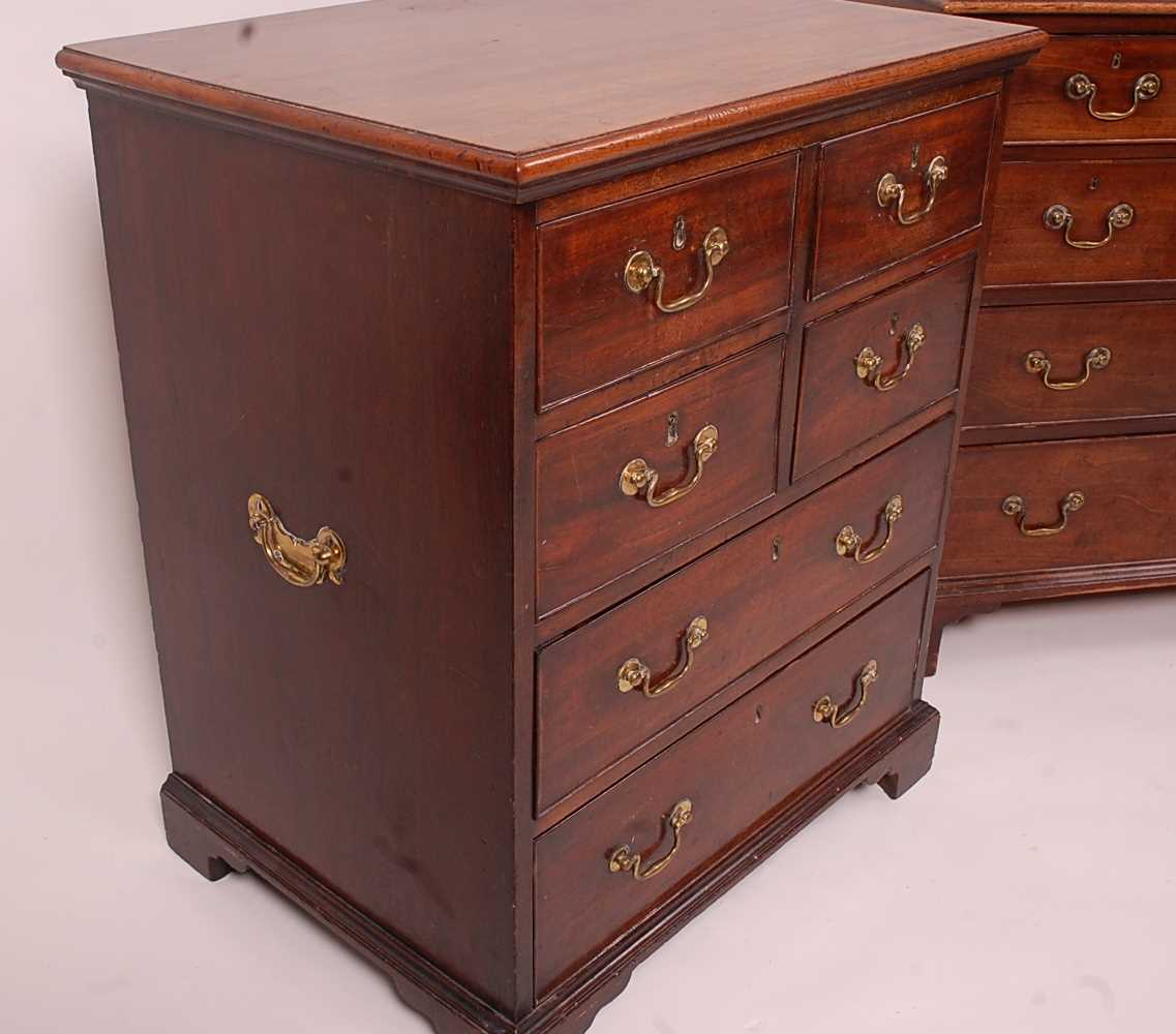 A matched pair of George III mahogany chests, each arranged as two flights of two drawers over two - Image 4 of 5