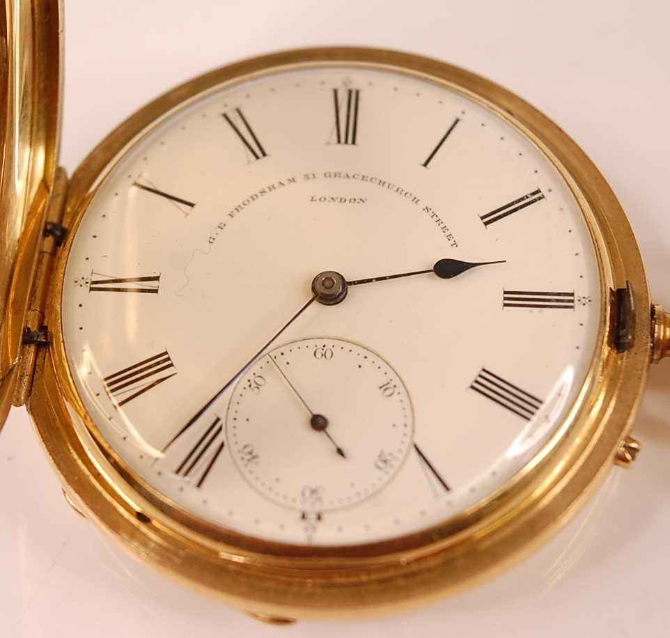 A late Victorian 18ct gold cased gent's full hunter pocket watch, having plain case, signed white - Image 2 of 5