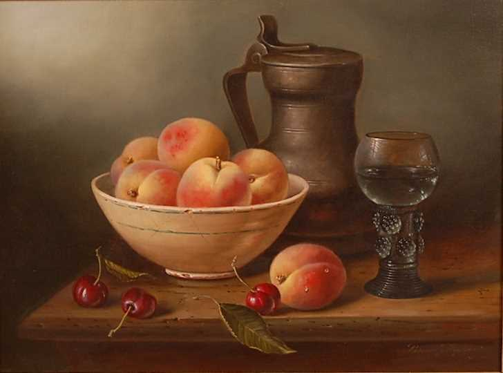 Brian Davies (1942-2004) - Still life with peaches, cherries and a pewter flagon, oil on canvas,