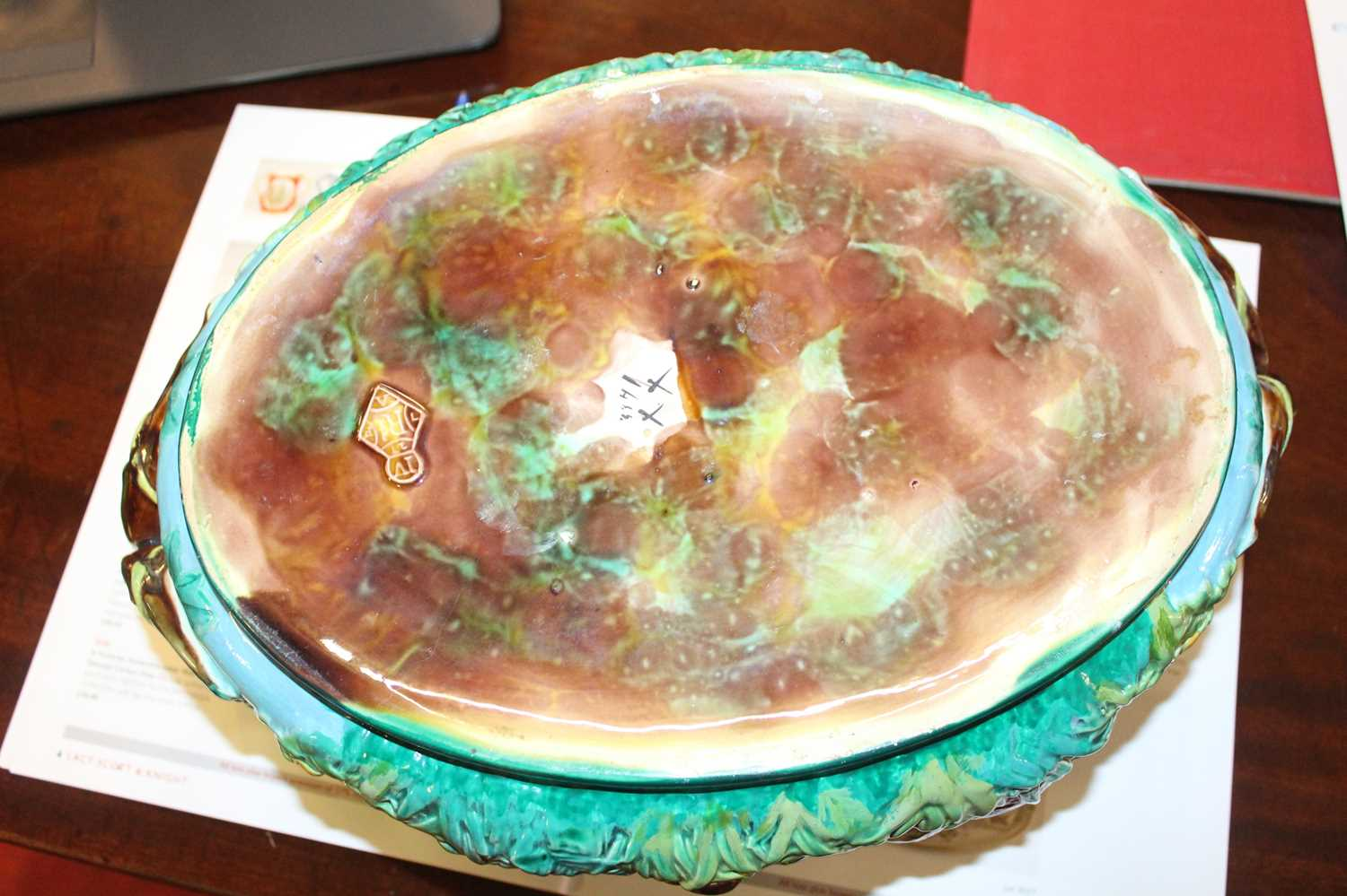 A Victorian George Jones majolica two-handled oval game pie tureen and cover, the cover decorated - Image 7 of 11