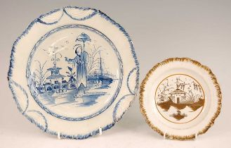 An 18th century cobalt blue decorated pearlware plate, decorated with a Chinese figure landscape