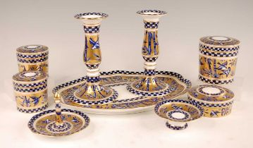 A late Victorian Coalport porcelain part dressing table set, comprising tray, pair of