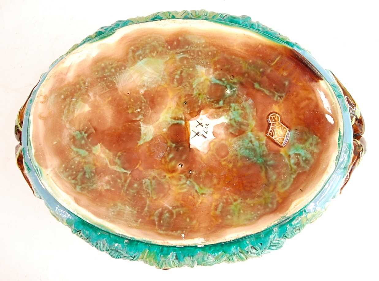 A Victorian George Jones majolica two-handled oval game pie tureen and cover, the cover decorated - Image 5 of 11