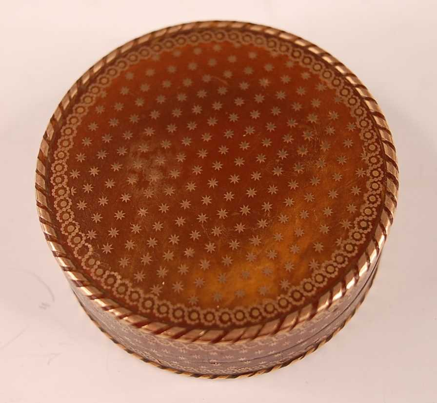 A George III tortoiseshell cylindrical dressing table box, with gold piqué stars and raised - Image 2 of 6