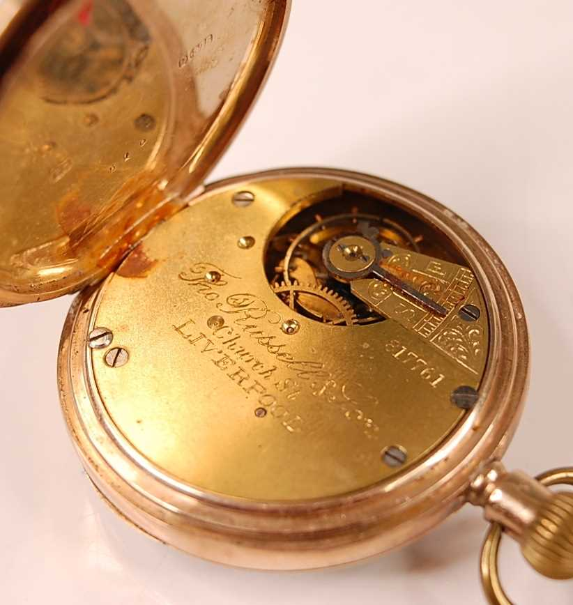 An Edwardian gent's 9ct gold cased open faced pocket watch by Thomas Russell & Son of Liverpool, - Image 3 of 3