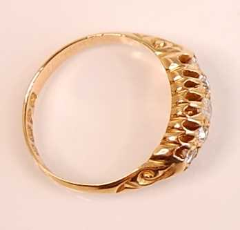 An 18ct yellow gold diamond five-stone half hoop eternity ring, comprising five graduated Old - Image 3 of 3