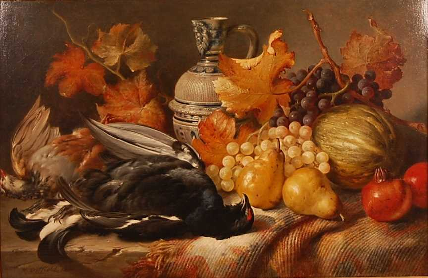 William Duffield (1816-1863) - Still life with dead game, fruit and a stoneware bellarmine, oil on