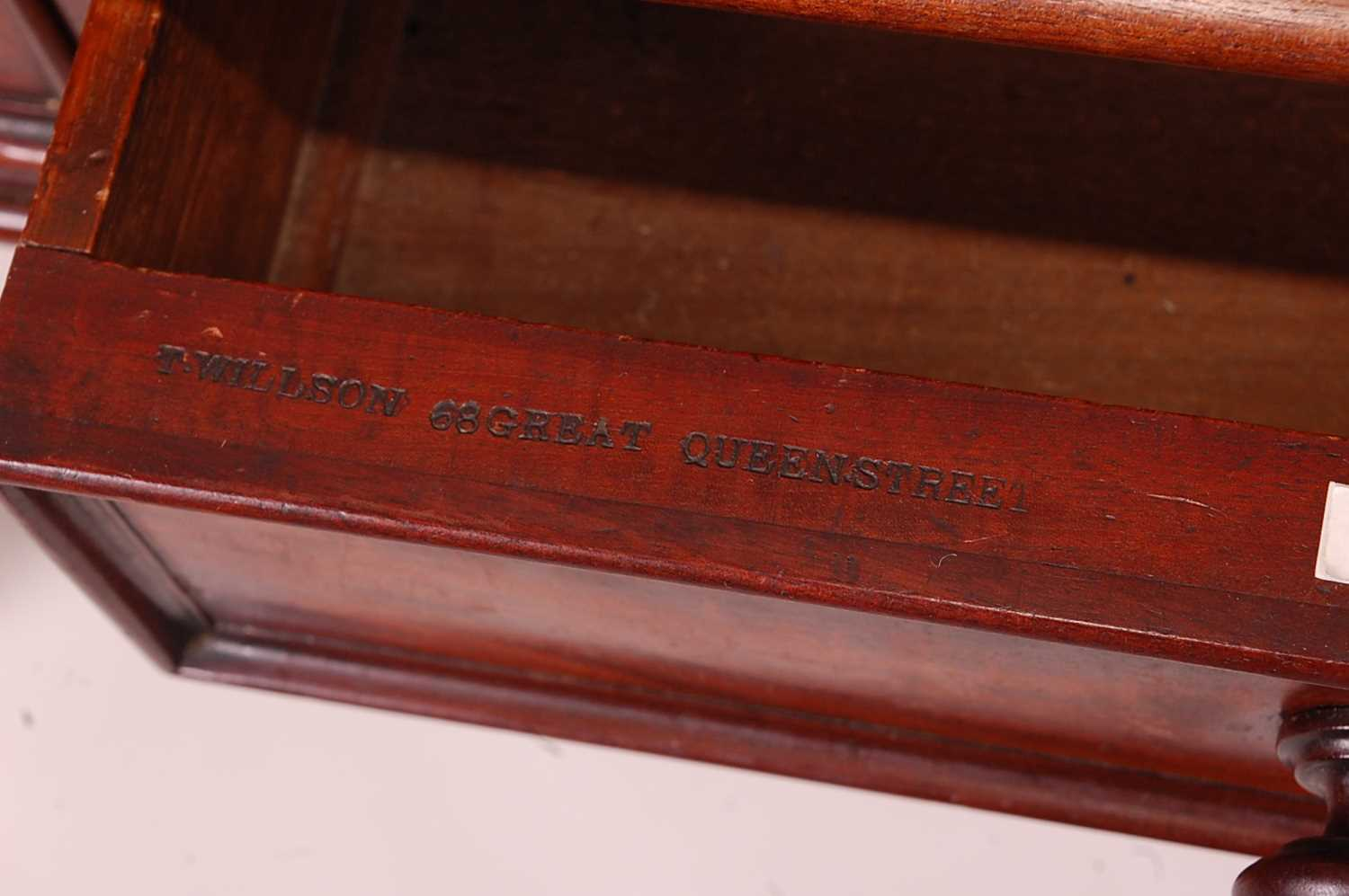 A Victorian mahogany side table by T. Willson of Great Queen Street, London, stamped to the frieze - Image 3 of 5