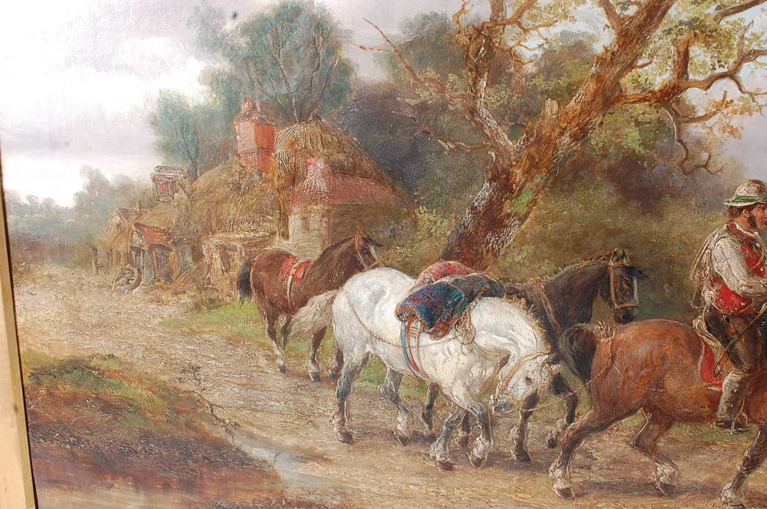 Alexis de Leeuw (Belgian c1822-1900) - Travellers with a string of horses in a landscape, oil on - Image 6 of 7