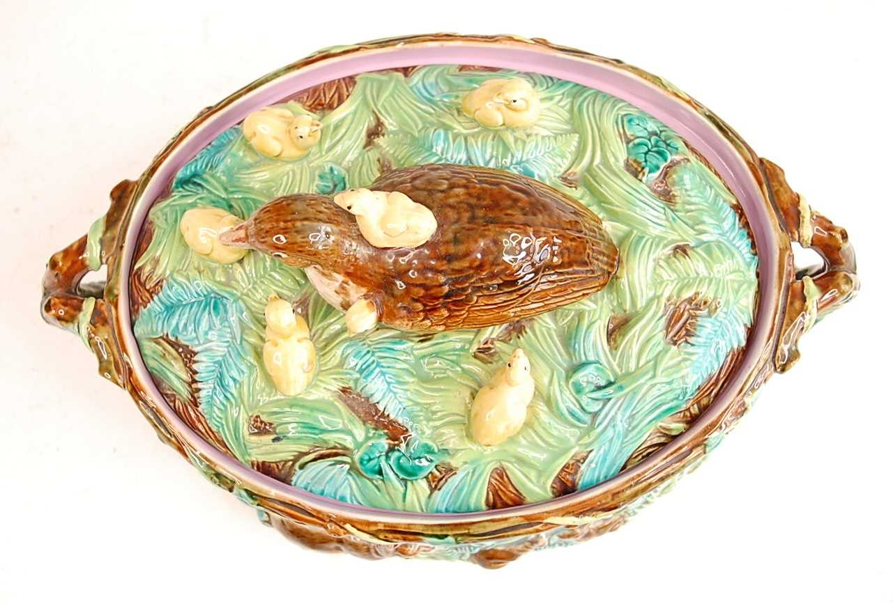 A Victorian George Jones majolica two-handled oval game pie tureen and cover, the cover decorated - Image 2 of 11