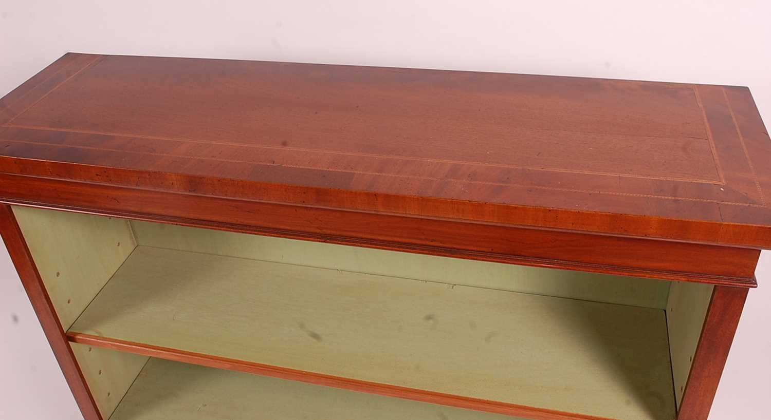 A mahogany freestanding open bookshelf, in the Victorian style, having a crossbanded and inlaid - Image 2 of 3