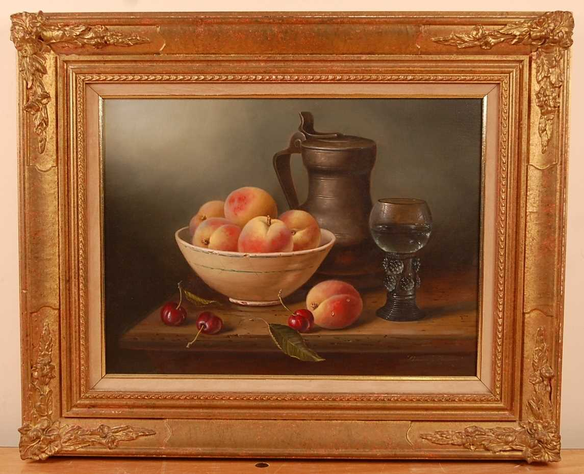 Brian Davies (1942-2004) - Still life with peaches, cherries and a pewter flagon, oil on canvas, - Image 2 of 4