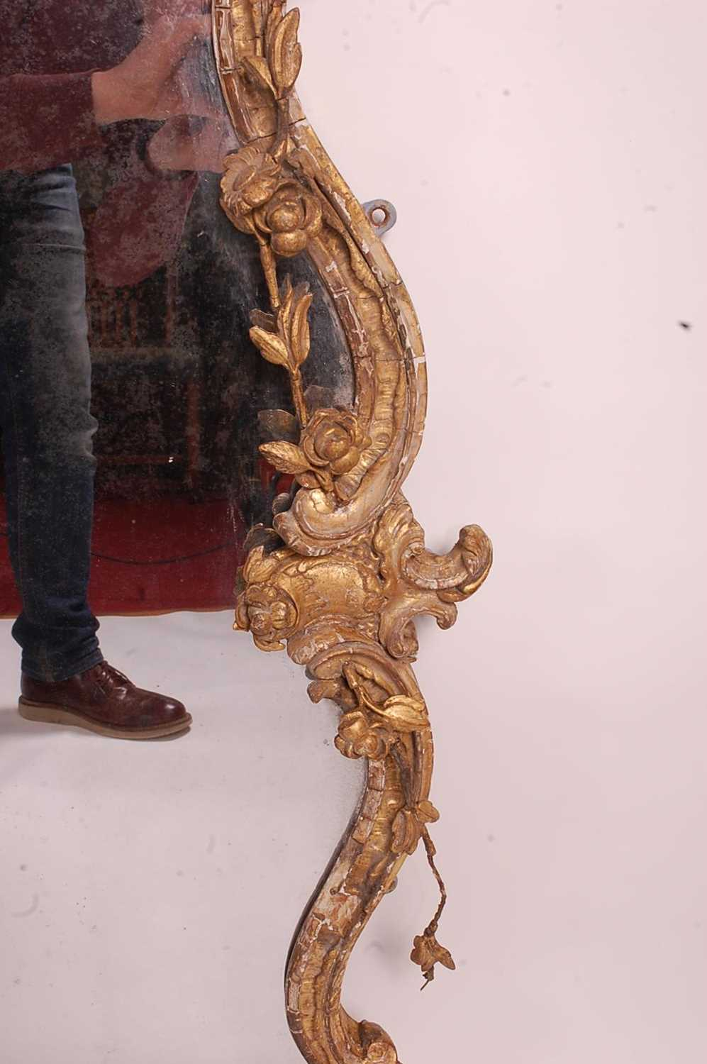 A Victorian Rococo Revival giltwood and gesso wall mirror, the shaped rectangular plate in an - Image 8 of 13